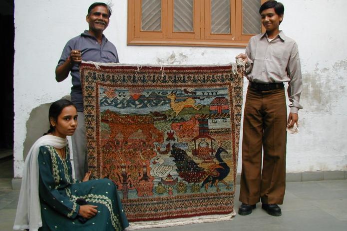 Rug handwoven in India
